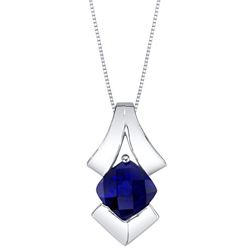 Kentucky Sapphire (Created Sapphire Sterling Silver Pagoda Pendant Necklace)