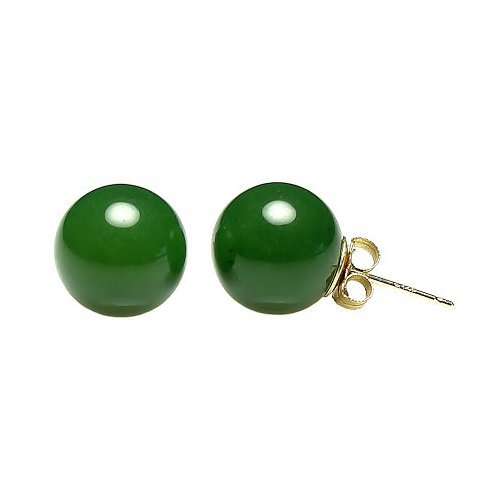 - Trustmark 14K Yellow Gold 10mm Natural Nephrite Green Jade Ball Stud Post Earrings