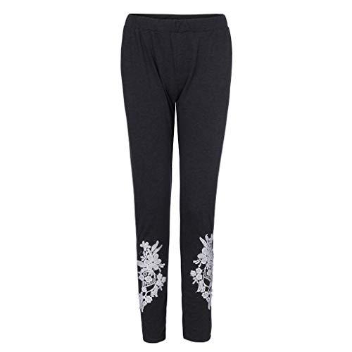 FEDULK Plus Size Womens Pants Fashion Appliqued Tight Leggings Casual Sport Yoga Trousers(Dark Gray, XX-Large)