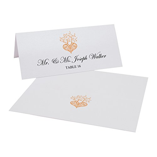 Tree of Life Heart Easy Print Place Cards, Pearl White, Orange, Set of 300 (75 Sheets) by Documents and Designs