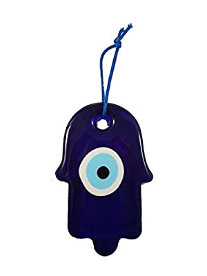 Bead Global Turkish Hand of Mother Fatima Blue Evil Eye Home Protection Charm - Hamsa and Blue Evil Eye Hanging Ornament Wall Decor