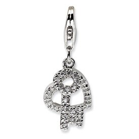 Sterling Silver Cz Heart And Key W//lobster Clasp Charm