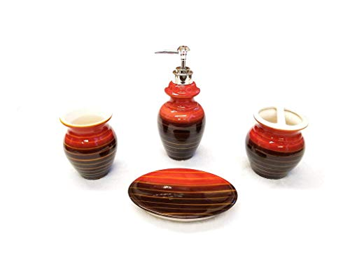 Empire Home Two-Tone 4-Piece Bathroom Accessory Ceramic Set - Lotion Dispenser/Tumbler / Toothbrush Holder/Soap Dish (Red & Brown)