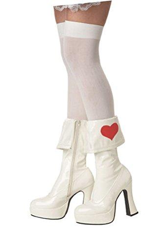 [POPLife Alice in Wonderland Boots Queen of Heart Costume Shoe Footwear Rebel Toon] (Red Queen Of Hearts Costumes Wig)