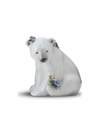 (Lladro Polar Bear Seated with Flowers)