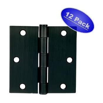 "Cosmas Flat Black Door Hinge 3.5"" Inch x 3.5"" Inch with Square Corners - 12 Pack"