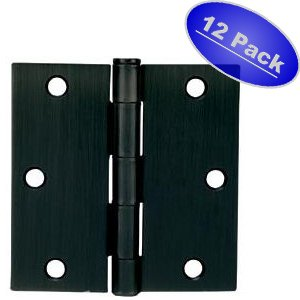 Cosmas Flat Black Door Hinge 3 5 Inch X 3 5 Inch With Square Corners 12 Pack