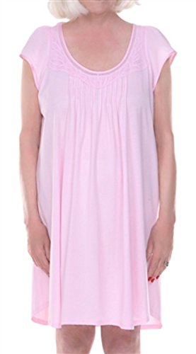 Trim Open Knit - DIGNITY PAJAMAS Womens Cotton Cap Sleeve Adaptive Open Back Patient Nightgown with Lace Trim - Pink (S/M)
