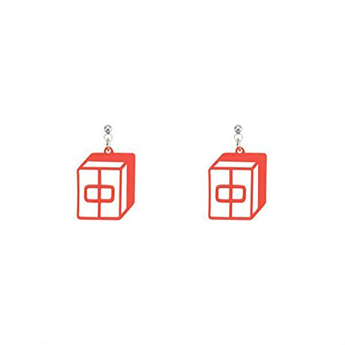 (Mahjong Red Dragon Earrings Chinese Characters - By)