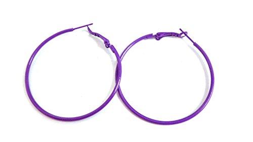 Purple Hoop Earrings Simple Thin Hoop Earrings 2 inch Hoop Earrings