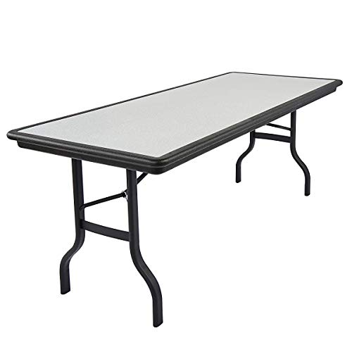 (Iceberg ICE65137 IndestrucTable Folding Table with Black Legs and Top, Steel Reinforced Blow-Molded Plastic, 1500 lbs Load Capacity, 96
