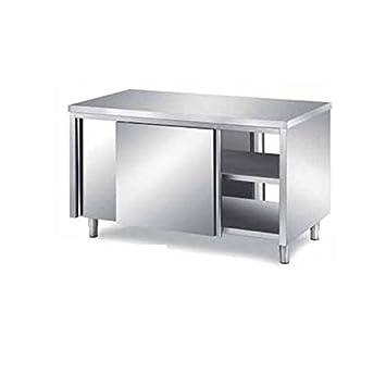 Mesa armadiato pasador de acero inoxidable con puertas ...