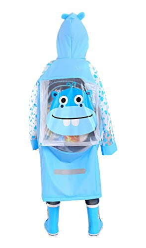 (Huojingli Kids Rain Coat for Kids Raincoat Girls Boys Reusable Rain Poncho Jacket Gear Schoolbag Position Packable Rainwear Blue)