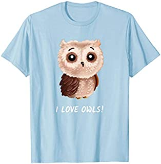 I love Owls  cute owl bird girlfriend Women Gift T-shirt | Size S - 5XL