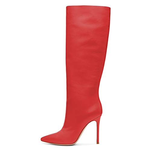 Toe High Wide Heels Knee FSJ Pointed Size 15 Women High Western 4 Long Riding Boots Red Calf Shoes US qvq0wt