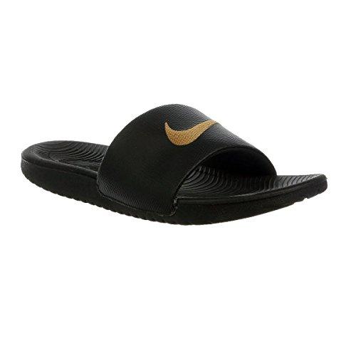 Nike Mens Kawa Slide Atletisk Sandal Svart / Metalliskt Guld / Svart