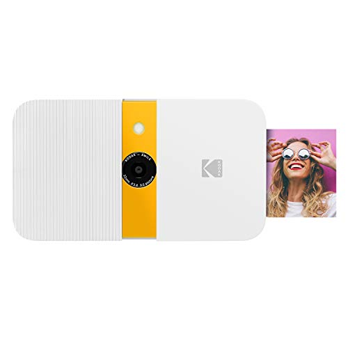 KODAK Smile Instant Print Digital Camera – Slide-Open 10MP Camera w/2×3 Zink Paper, Screen, Fixed Focus, Auto Flash & Photo Editing – White/Yellow