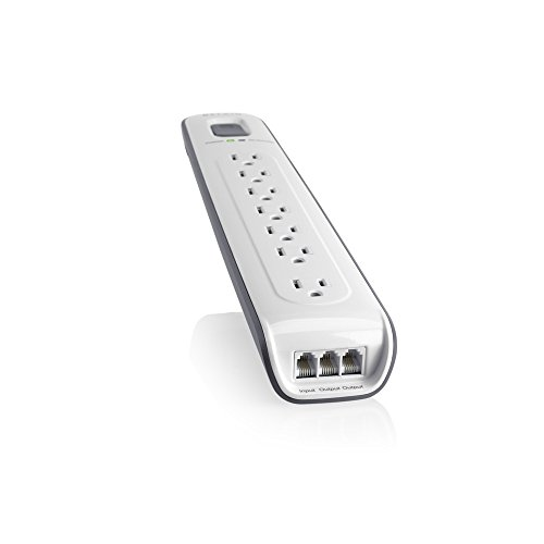Belkin 7-Outlet AV Power Strip Surge Protector with 12-Foot Power Cord and Telephone Protection, 2000 Joules (BV107200-12) by Belkin (Image #1)