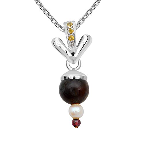 - Orchid Jewelry 7.37 Ct Brown Ball Agate, Pearl and Garnet 925 Sterling Silver Pendant for Women: Nickel Free Cute and Simple Mother and Wife Birthday Gift
