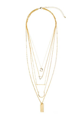 Happiness Boutique Layered Necklace in Gold | Multilayered Chain Pendant Necklace Nickel Free from Happiness Boutique