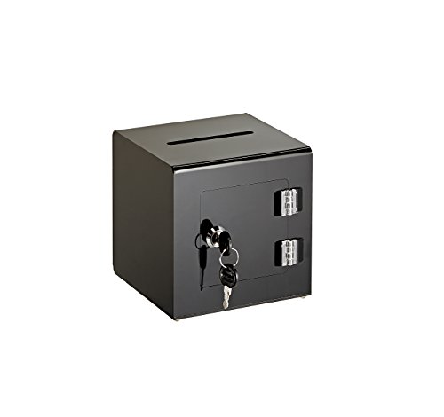 AdirOffice Acrylic Ballot Box Donation Box with Easy Open Rear Door (6x6x6, Black) ()