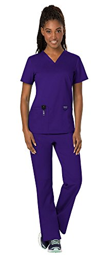 Cherokee Workwear Revolution Women's Medical Uniforms Scrubs Set Bundle - WW620 V-Neck Scrub Top & WW110 Elastic Waist Scrub Pants & MS Badge Reel (Grape - X-Small/Small)