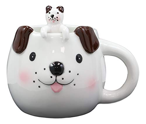 (Ebros Adorable Whimsical Animal White Dog With Brown Ears Ceramic Coffee Cappuccino Latte Tea Ice Cream Mug Drink Cup With Pet Pal Peeking Puppy Latch On Spoon Set 16oz Animals Home And Kitchen Decor)