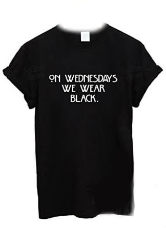 On Wednesdays We Wear Black T Shirt (Large): Amazon.co.uk: Clothing