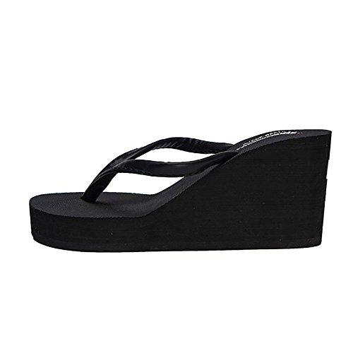 Donna Tacchi Cuneo D'estate Semplice 40 39 Casuale Con Infradito Toe Black black Shangxian Piattaforma Sandali Peep Outdoor EqwIxTWT7p