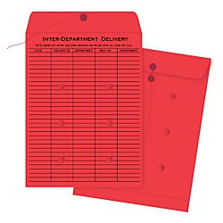 Quality Envelopes Park Interoffice (Quality Park 63574 Quality Park String-Tie Interoffice Envelopes, 1-Side Print,10x13, Red, 100/Ctn)