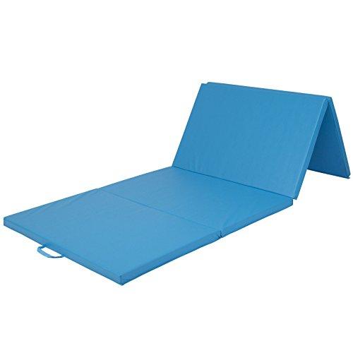 "4'x10'x2"" Gymnastics Gym Folding Exercise Aerobics Mats Blue Stretching Yoga Mat"