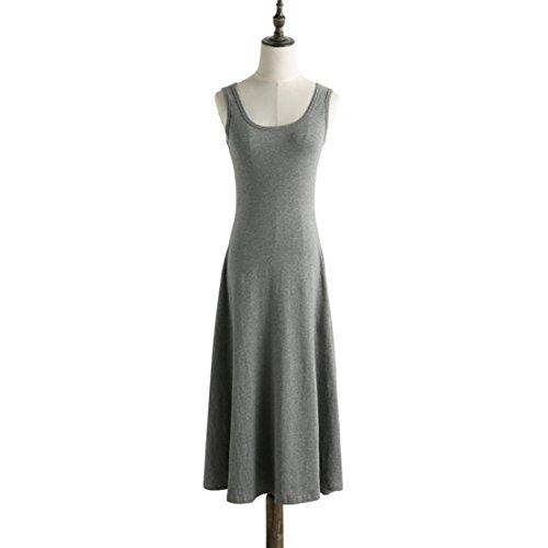 VHJLI Maxi Dress Women High Waist Sleeveless Casual Vintage O-Neck Knee-Length Tank Dress Girl Plus Size16187 Dary Gary (Maxi Rick Rack)