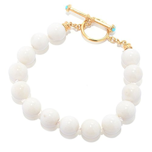 Michael Valitutti Palladium Silver Etruscan Collection White Bamboo Coral & Sleeping Beauty Turquoise Beaded Toggle Bracelet