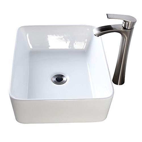 Lordear 19''x15'' Modern Bathroom Rectangle Above White Porcelain Ceramic Vessel Vanity Sink Art Basin& Brushed Nickel Faucet Combo by Lordear