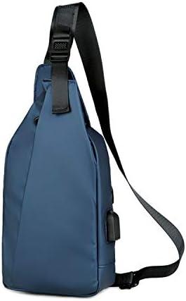 FANDARE Brusttasche Sling Bag mit USB Schultertasche Chest Crossbody Pack Umhängetasche Sporttasche für Herren Junge Reise Crossover Daypack Wandern Bergsteigen Wasserdicht Nylon Blau