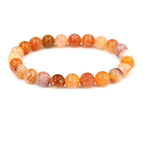 Natural Red Botswana Agate Handmade Gemstone 8mm Round Beads Elastic Bracelet 7