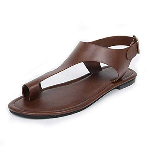 - Women Fashion Casual Ring Toe Flat Sandals T Strap Flip Flops Vintage Faux Leather Thong Sandals by Lowprofile Coffee