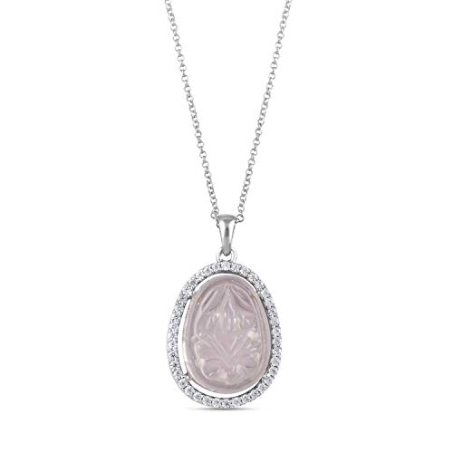 Exclusive Deals AYOS Inc Natural Pink Gemstone Rose Quartz (10.09 cttw) Pendant Hand Carved Healing Crystals Birthstone Gemstone Pendant Necklace Pendants for Women 925 Sterling Silver Gemstone Jewelry Gifts for Women