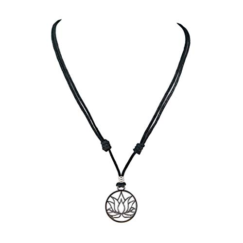 BlueRica Lotus Flower Pendant on Adjustable Black Rope Cord Necklace (Chrome Finish) - Flower Pendant Cord