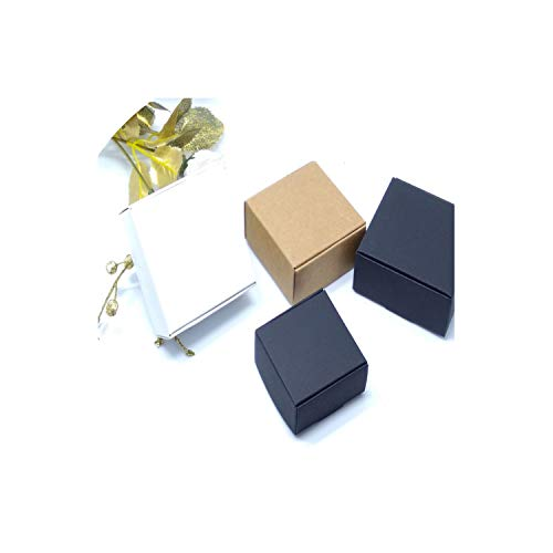 100Pcs New Diy Kraft Paper/Black/White Gift Box For Wedding Favors Birthday Party Candy Cookies Christmas Party Gift Ideas Boxes,Black,4X4X2Cm
