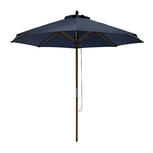 Classic Accessories Montlake FadeSafe 9-Foot Round Bamboo Patio Umbrella, Heather Indigo