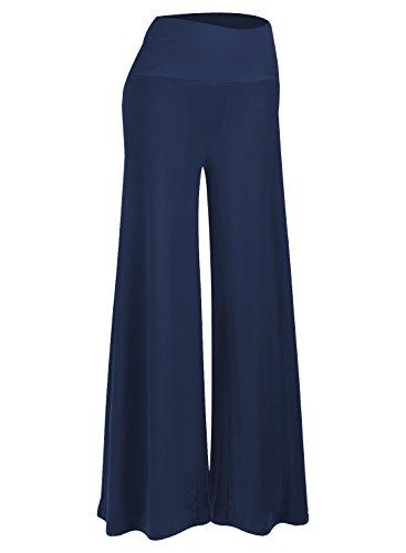 Arolina Women's Stretchy Wide Leg Palazzo Lounge Pants (Navy Blue,L)