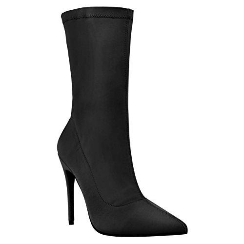 Taille Hauts Pointu Extensible Cheville Enfiler Femmes Pincement À Bout Pour Noir Point Neuves Chaussures Stiletto De Lycra Talons Chaussette Bottes pZ4nq