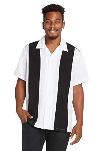 - 9 Crowns Men's Retro Bowling Bahama Camp Button-Down Shirt-Black/White-Small