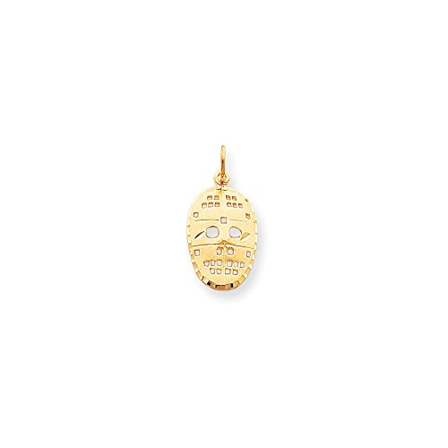 10k Yellow Gold Solid Satin Sparkle-Cut Hockey Mask Charm