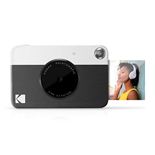 Kodak PRINTOMATIC Digital Instant Print Camera (Black), Full Color Prints On ZINK 2x3 Sticky-Backed Photo Paper - Print Memories Instantly