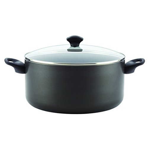 Farberware 16716 Dishwasher Safe Nonstick Aluminum Covered Stockpot, Black 10.5-Quart, Large, Dishwasher Safe Stock Pot