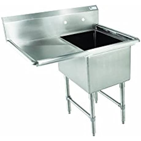 John Boos E Series Stainless Steel Sink 12 Deep Bowl 1 Compartment 18 Left Hand Side Drainboard 38 1 2 Length X 23 1 2 Width