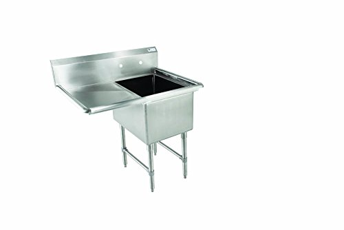 John Boos E Series Stainless Steel Sink, 12'' Deep Bowl, 1 Compartment, 18'' Left Hand Side Drainboard, 38-1/2'' Length x 23-1/2'' Width by John Boos