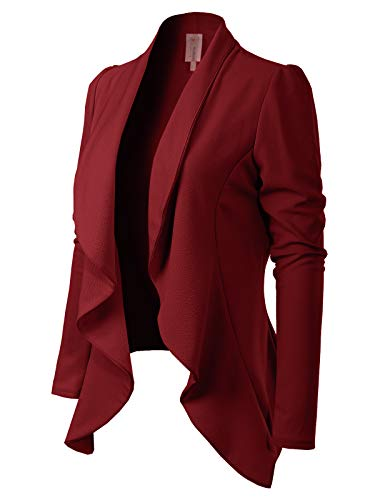 MixMatchy Women's [Made in USA] Solid Formal Style Open Front Long Sleeves Blazer (S-3X) Burgundy M